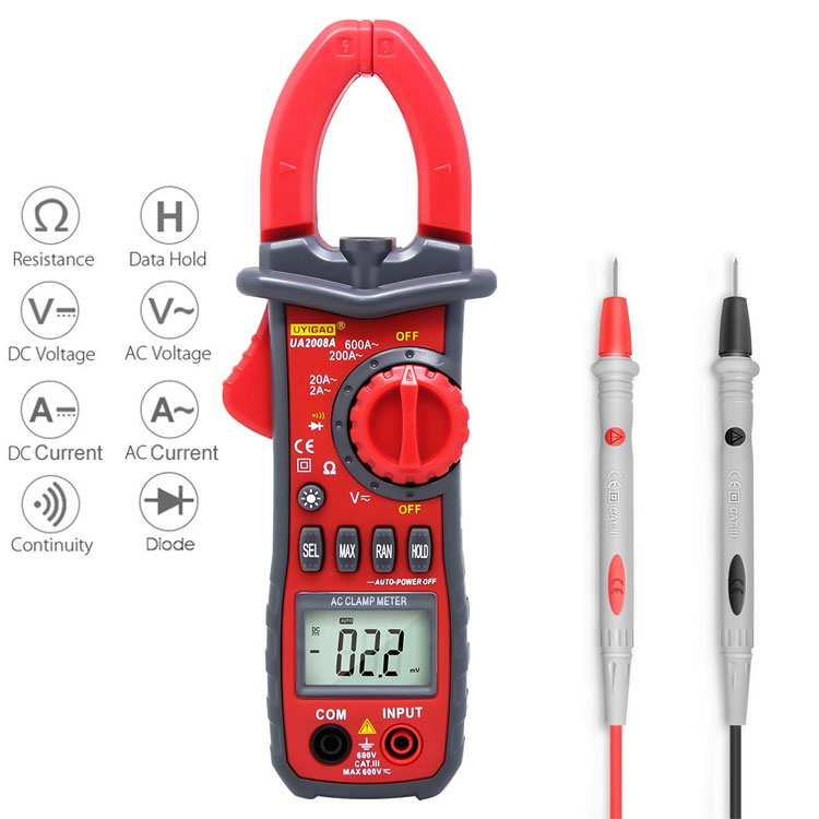 Good Quality New Digital Clamp Meter  With Frequency Capacitance Reistance Temperature tester UA2008A