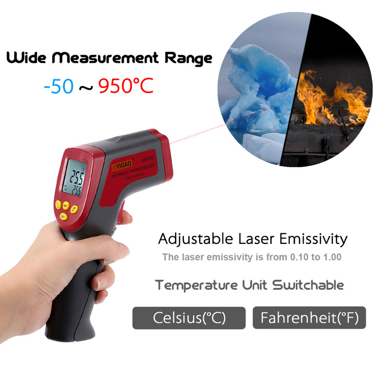 -50~950C 12:1 Handheld Digital Thermometer Infrared IR Temperature Tester Pyrometer with Backlight Adjustable Emissivity